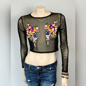 Missguided Embroidered Sheer Crop Top SZ 8